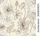 vintage floral seamless pattern....   Shutterstock .eps vector #306804824