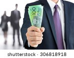 businessman hand holding money  ... | Shutterstock . vector #306818918