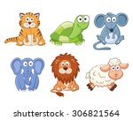 Stock vector cute cartoon animals isolated on white background stuffed toys set cat lion mouse elephant 306821564