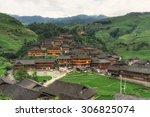 dazhai village viewed from the... | Shutterstock . vector #306825074