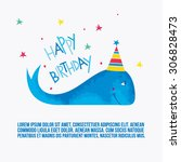 happy birthday card with funny... | Shutterstock .eps vector #306828473