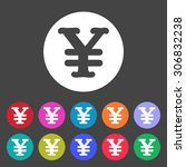 yen symbol icon. set of colored ... | Shutterstock .eps vector #306832238
