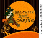 halloween background with... | Shutterstock .eps vector #306833030