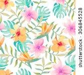 watercolor floral pattern   Shutterstock . vector #306845528