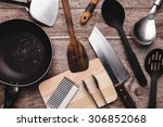 old kitchenware on wooden... | Shutterstock . vector #306852068