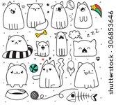 set of 11 sticker doodle cats... | Shutterstock . vector #306853646