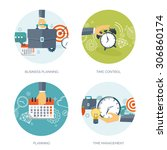 clock flat icon. world time... | Shutterstock .eps vector #306860174