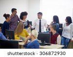 group of students with teacher... | Shutterstock . vector #306872930