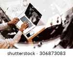 double exposure of businessman... | Shutterstock . vector #306873083