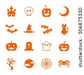 halloween icon set | Shutterstock .eps vector #306875330