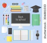 flat icons set of school... | Shutterstock .eps vector #306881033