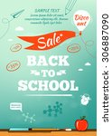 back to school sale poster.... | Shutterstock .eps vector #306887090