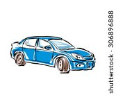 colored hand drawn car on white ... | Shutterstock .eps vector #306896888