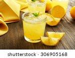 Glasses Of Lemon Juice On...