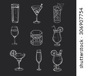 different hand drawn beverages... | Shutterstock .eps vector #306907754