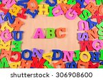 plastic colored alphabet... | Shutterstock . vector #306908600