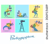 set photographer camera... | Shutterstock .eps vector #306915689