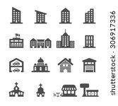 building icon set 3  vector... | Shutterstock .eps vector #306917336