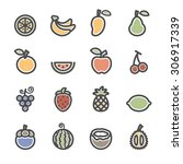 fruit icon set  flat line... | Shutterstock .eps vector #306917339