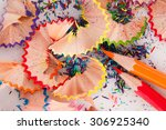 colored pencils and wood chips | Shutterstock . vector #306925340