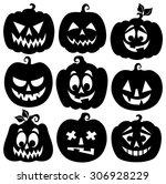 pumpkin silhouettes theme set 1 ... | Shutterstock .eps vector #306928229