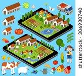 big set of rural farmer... | Shutterstock .eps vector #306930740