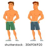 funny cartoon guy flaunting his ... | Shutterstock .eps vector #306936920