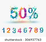 sale percents. vector paint... | Shutterstock .eps vector #306937763