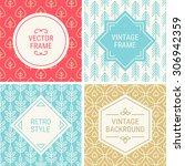 set of vintage frames in red ...   Shutterstock .eps vector #306942359