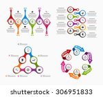 set colorful infographics in...