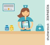 doctor on workplace with tablet ... | Shutterstock .eps vector #306968336