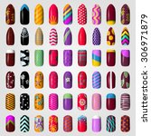 set of colored painted nails.... | Shutterstock .eps vector #306971879