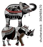rhino and elephant in the... | Shutterstock . vector #306985670