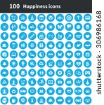 happiness 100 icons universal... | Shutterstock .eps vector #306986168