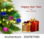 christmas tree and gifts   Shutterstock .eps vector #306987080