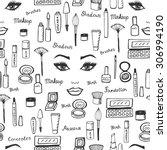 make up pattern. doodle makeup...   Shutterstock .eps vector #306994190