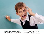 very cute and positive student... | Shutterstock . vector #306995114