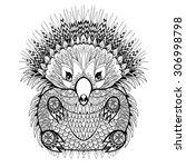 Hand Drawn Tribal Totem Echidn...