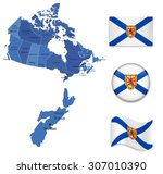 canada new scotia map and flag... | Shutterstock .eps vector #307010390