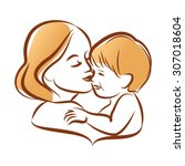 mother with her baby ... | Shutterstock .eps vector #307018604