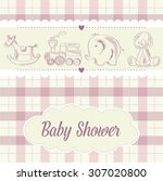 baby girl shower card with... | Shutterstock .eps vector #307020800