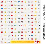 business vector sticker icons... | Shutterstock .eps vector #307024268