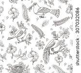cute vector seamless pattern... | Shutterstock .eps vector #307032086