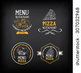 pizza menu restaurant badges.... | Shutterstock .eps vector #307032968