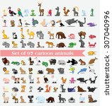 set of cute cartoon animals | Shutterstock .eps vector #307040996