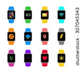 abstract smart watch icon... | Shutterstock .eps vector #307045343