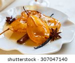 poached pears with spices in... | Shutterstock . vector #307047140