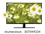 monitor with nature wallpaper... | Shutterstock . vector #307049234