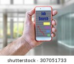 hand holding mobile phone with... | Shutterstock . vector #307051733