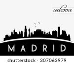 madrid spain skyline silhouette ... | Shutterstock .eps vector #307063979